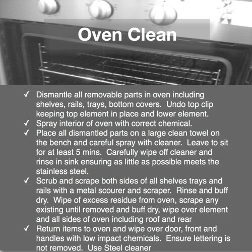 domestic bliss oven service detail duties